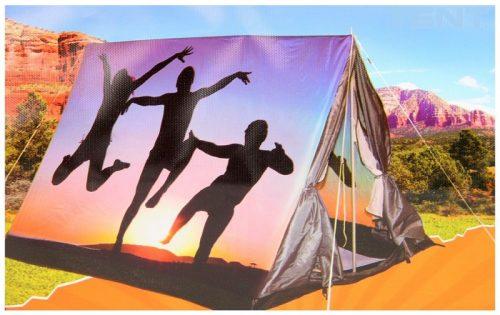 3 persoons tent met print - silhouet