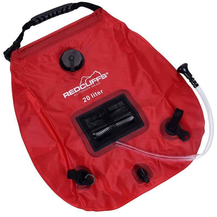 Campingdouche met thermometer - 20 liter - rood