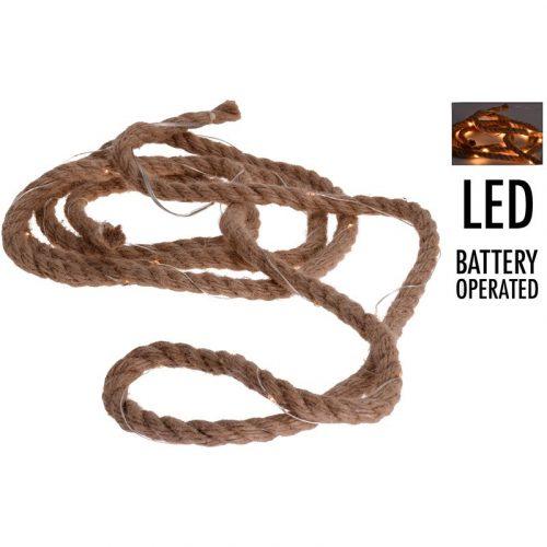 Jute touw met ledverlichting - 3 meter