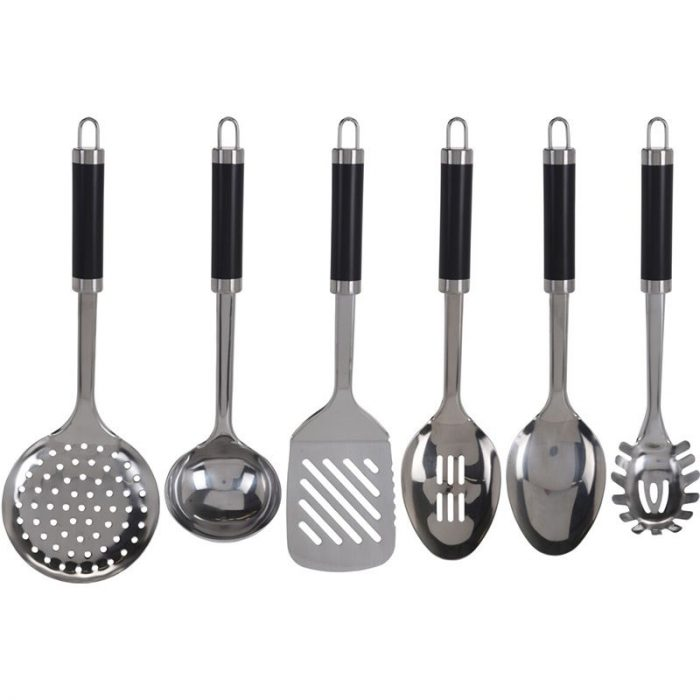 Keukengerei - Set van 6 stuks + houder - RVS