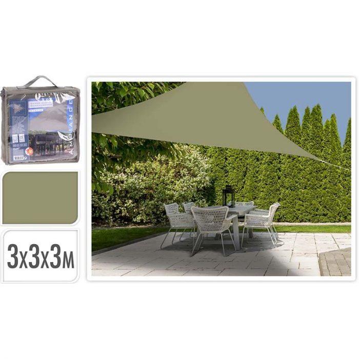 Schaduwdoek driehoek 3x3x3m - olijfgroen