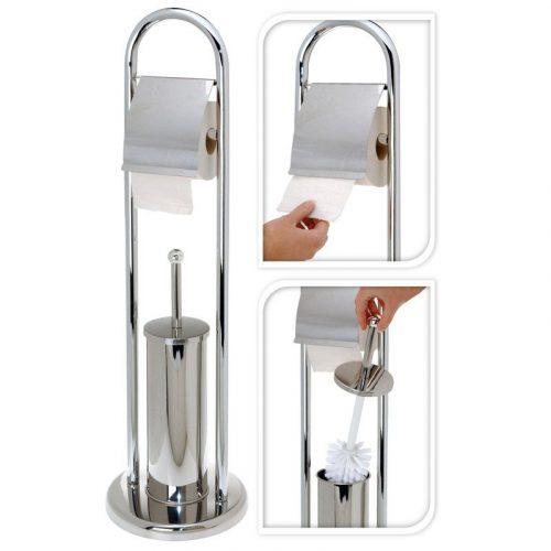 Toiletrolhouder met toiletborstel RVS - glanzend