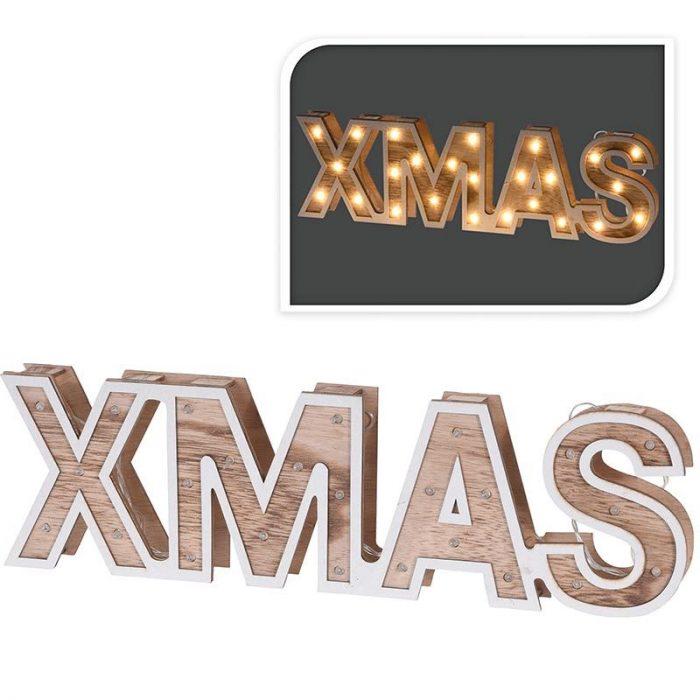 XMAS - houten letters - 38cm - 25 LED