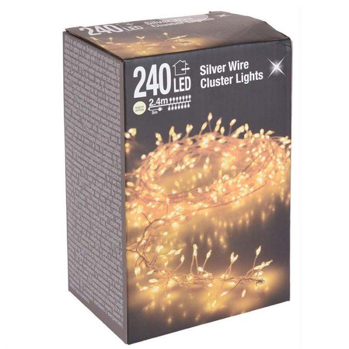 Zilverdraad - cluster - 240LED - warm wit