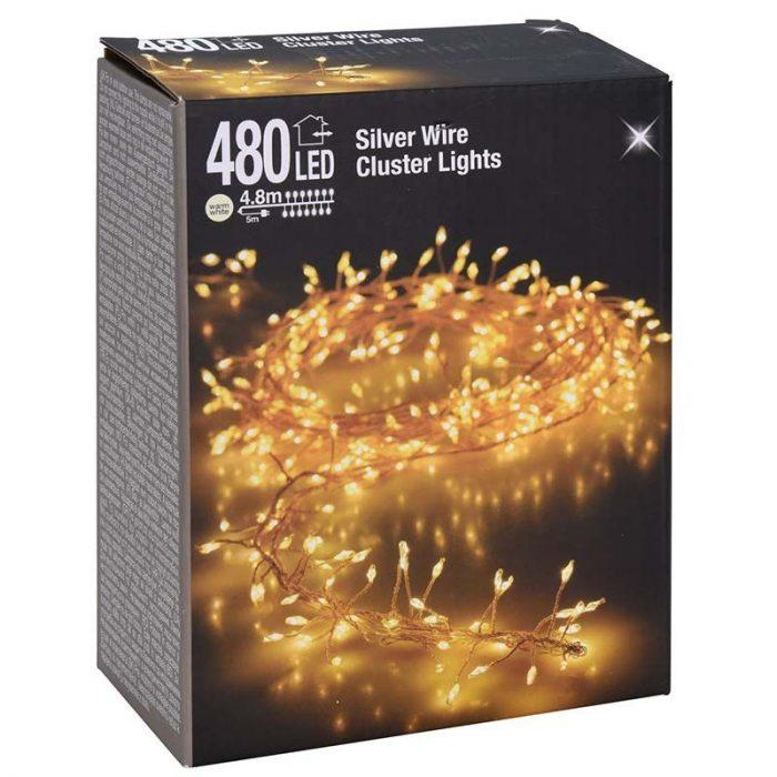 Zilverdraad - cluster - 480LED - warm wit