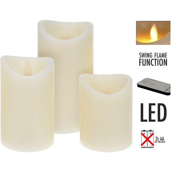 LED-kaarsen met afstandsbediening - set van 3