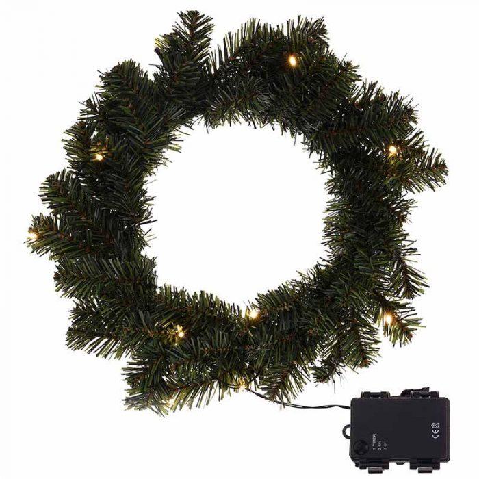 Kerstkrans 35cm - met verlichting en timer