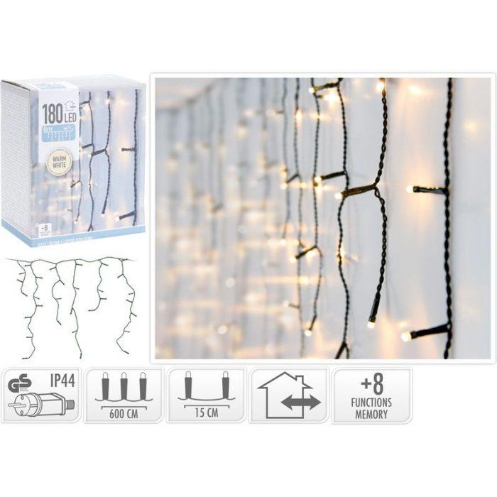 IJspegel verlichting - 180 LED - 6 meter - warm wit - 8 lichtfuncties