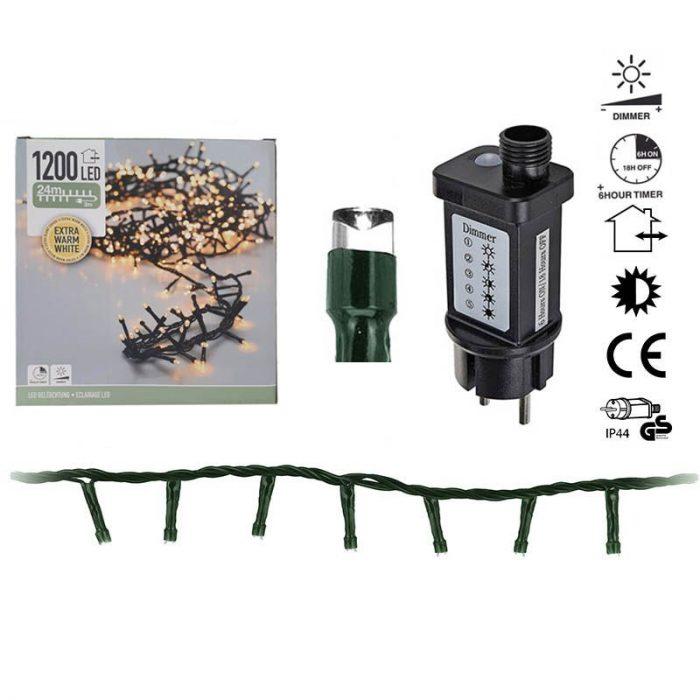 Micro Cluster - 1200 LED - 24m - met timer en dimmer - extra warm wit