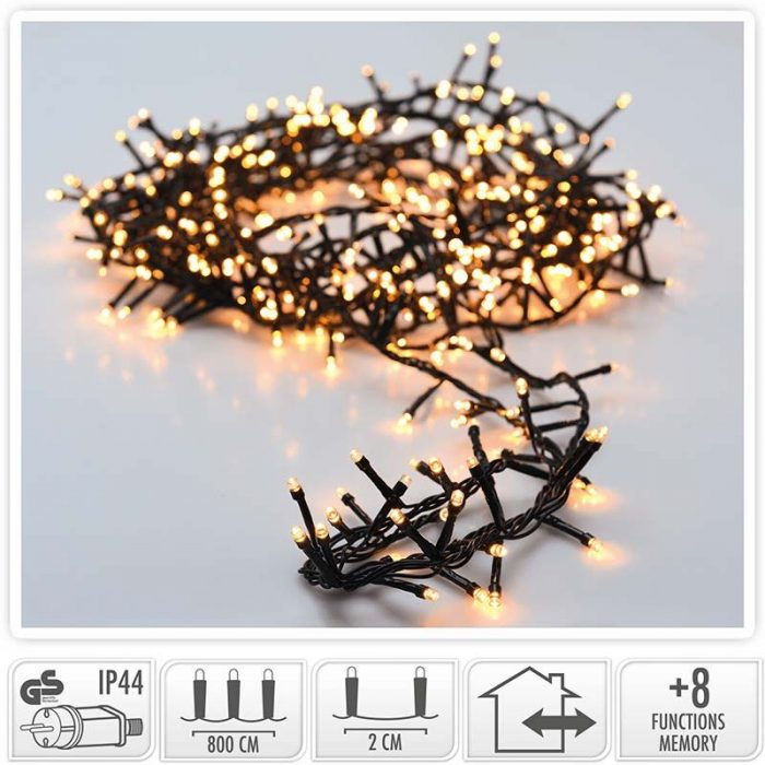 Micro Cluster - 400 LED- 8 meter - warm wit