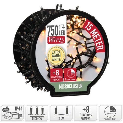 Micro Cluster met Haspel - 750 LED - 15 meter - met timer - extra warm wit
