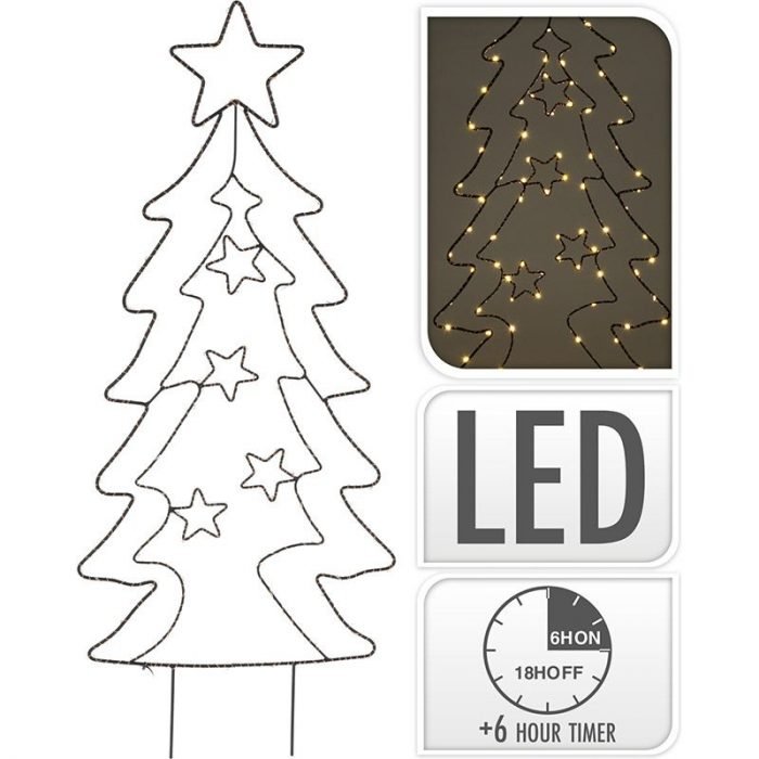 Tuinsteker Kerstboom - 90 LED - Extra Warm Wit